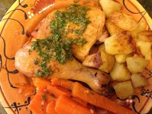 Here, salsa verde is used to dress simple roast chicken