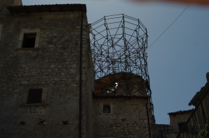 The Medici Tower, the symbol of the the medieval hamlet of Santo Stefano di Sessanio, collapsed during the 2009 earthquake that destroyed Abruzzo's lovely capital L'Aquila.