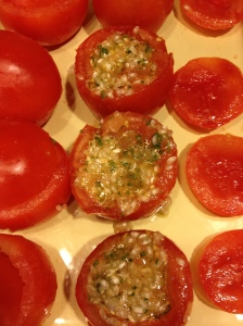 The stuffed tomatoes prior to roasting