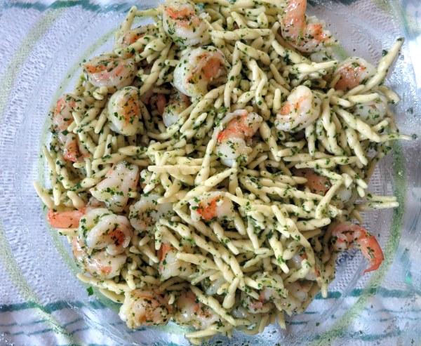 Trofie al Pesto di Menta con Gamberi - corkscrew pasta with mint pesto and shrimp