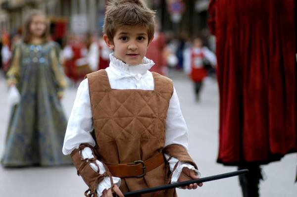 "Susanna's nephew, Tommaso, dressed as an ""armigero"" in preparation for the Giostra festivities.  Photo by Gianpaolo Tronca."