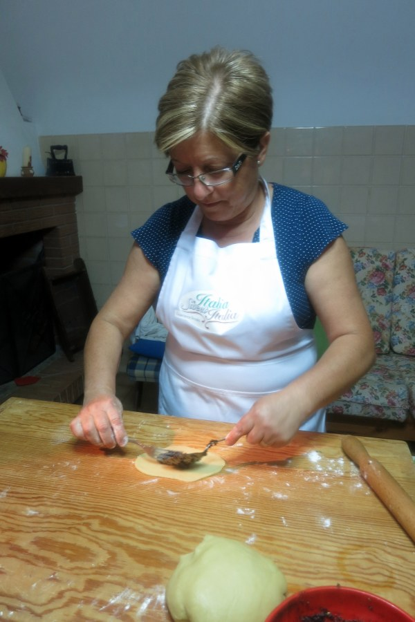 Rosa teaching us how to prepare the celli ripieni